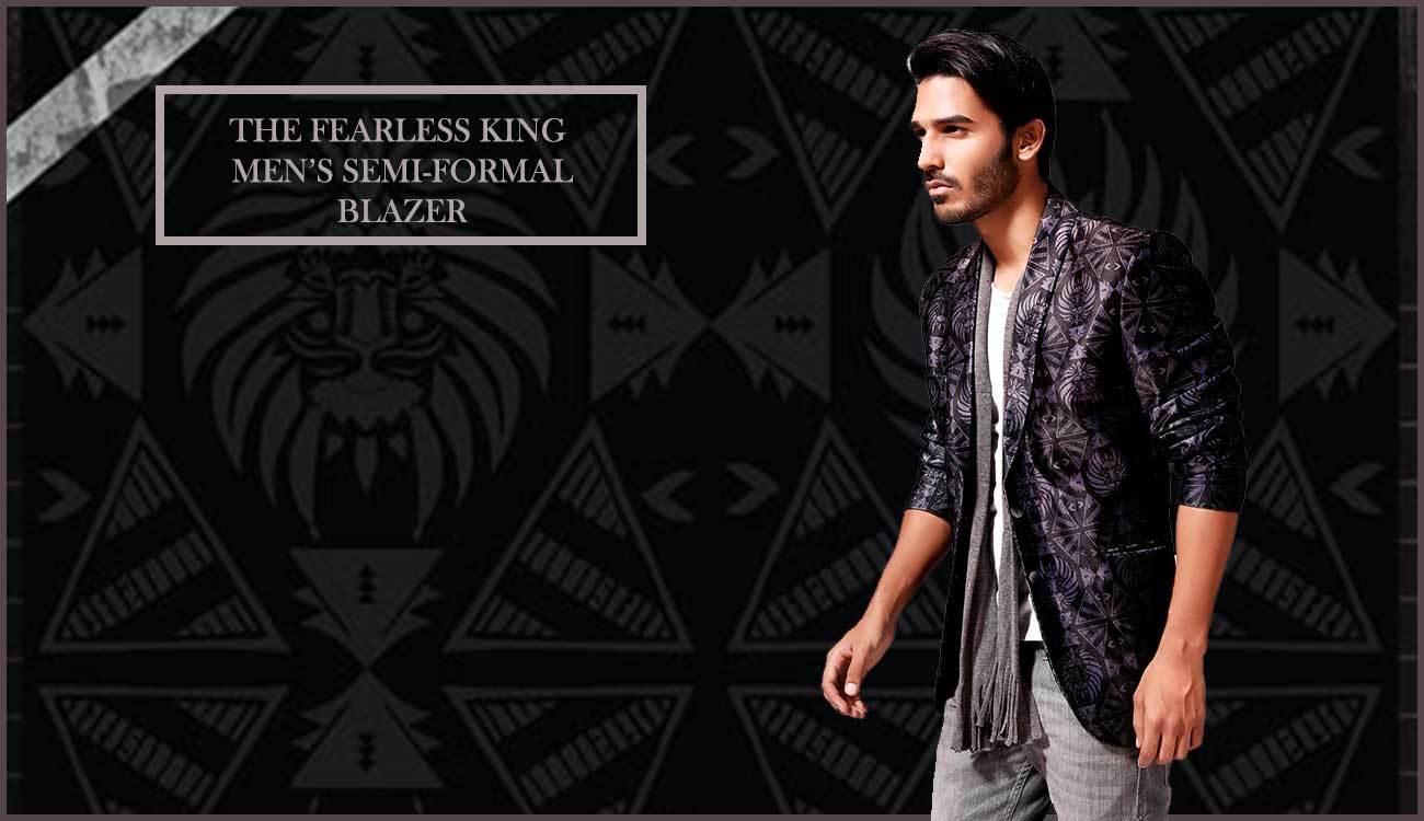 "Enrich your Wardrobe & Lifestyle with ""The Fearless King"" Men's Semi-Formal Printed Blazer. Price : INR 2590  #RedesynForCanopy3 #ApparelForCanopy3 #Below1000ForCanopy3 #RoposoCanopy3 #nicecollection #mensblazer #blazer #autumnwinter #semiformalblazer #printedblazer #coat #jacket #formal #printedblazer #designer #designedbyartists #art #fashion #styling #style #shoot #menswear #mens #streetstyle #goodmaterial #semiformal #blackblazer #black #classy #mensfashion #creative #coolgraphics #lovefordesign"