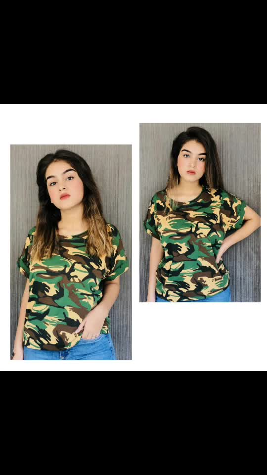 Click link for Whatsapp. http://bit.ly/Fashionstore101  Camouflage Tee 🖤     Cotton fabric        2 Shades  Bust size - 30 to 34   #camouflage #tees #womensclothing #girlstees #wholesaleprices  #wholesaler #fashionstore101 #fashionkaro