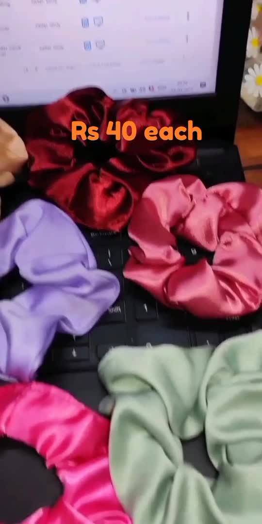 Satin Scrunchies 😍 Rs40 each follow me on insta @shine.graciously #smallbusiness #love #sypportme #supportsmallbusiness #scrunchies #satin #staypositive #desibeats