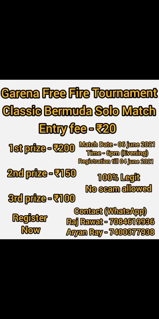 for more details plz whatsapp on 7400377938   #garenafreefire #roposo #freefiretournament #show #your #talent #and #earn #money