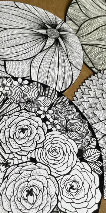 My flower jungle 💖 #lineartdrawing #artwork #lineart #floral #floralartist #floralwork