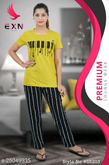 Checkout this hot & latest Nightsuits Cotton nightsuits 550 only Top Fabric: Cotton Bottom Fabric: Cotton Top Type: Tshirt Bottom Type: Pyjamas Sizes: S (Top Bust Size: 28 in, Top Length Size: 34 in, Bottom Waist Size: 28 in, Bottom Length Size: 30 in)  XL (Top Bust Size: 34 in, Top Length Size: 34 in, Bottom Waist Size: 34 in, Bottom Length Size: 30 in)  L (Top Bust Size: 32 in, Top Length Size: 34 in, Bottom Waist Size: 32 in, Bottom Length Size: 30 in)  M (Top Bust Size: 30 in, Top Length Size: 34 in, Bottom Waist Size: 30 in, Bottom Length Size: 30 in)  XXL (Top Bust Size: 36 in, Top Length Size: 34 in, Bottom Waist Size: 36 in, Bottom Length Size: 30 in)   Cotton nightsuits Country of Origin: India Sizes Available - S, M, L, XL, XXL *Proof of Safe Delivery! Click to know on Safety Standards of Delivery Partners- https://ltl.sh/y_nZrAV3